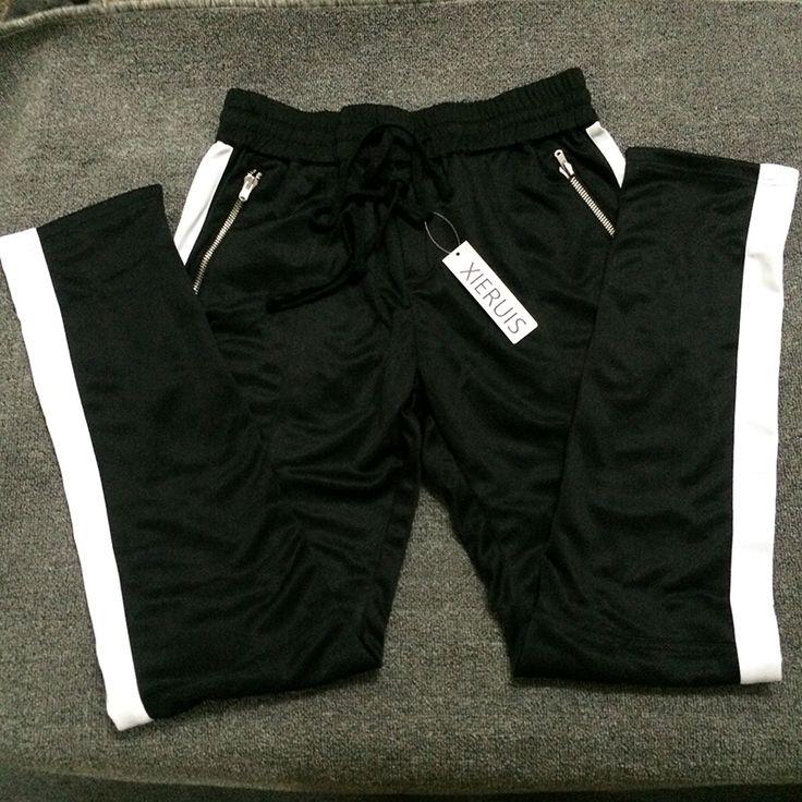XIERUIS 2017 New Collection Side Zipper Sweatpants Hip-Hop Men Joggers Pants Black/White Stitching Straight Pants