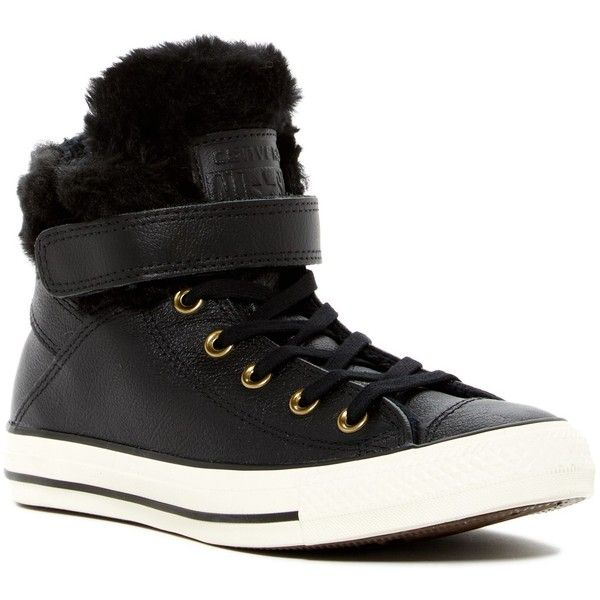 meet 9d950 6abd7 Converse Chuck Taylor All Star Faux Fur Lined Leather High-Top Sneaker  (60) ❤ liked on Polyvore featuring shoes, sneakers, converse high tops, ...