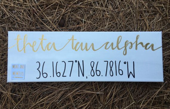 CUSTOM canvas:  When purchasing please list the sorority you would like and your school or city for the coordinates.  6x18 inches  If you would like any other modifications please message me or leave a note in the note to seller box.  Perfect for a gift or for yourself. All of my canvases come wrapped and safely packaged!  FOLLOW MINT AND MIMOSAS ON SOCIAL MEDIA: Instagram : mintandmimosas Twitter : mintandmimosasetsy Facebook : Mint and Mimosas on Etsy  Canvas WILL NOT come with brand…