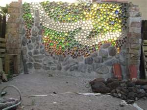 glass bottles used to make a wall...very cool!