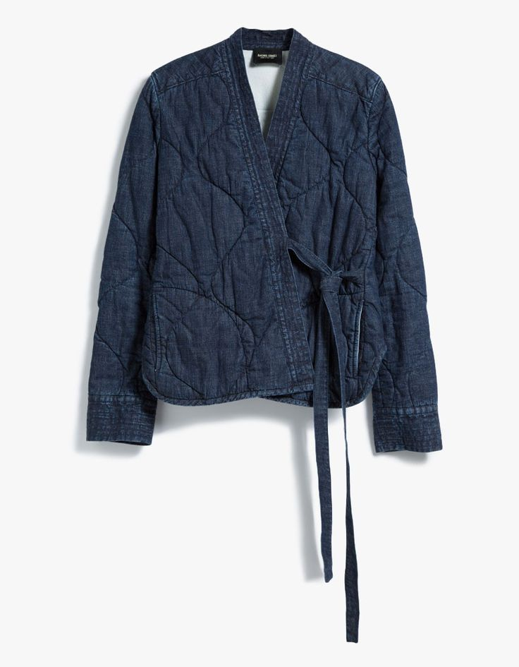 Quilted denim jacket from Rachel Comey. V-neckline. Wrap closure. Straight back yoke. Lightly padded. Fully lined. Made in USA with imported materials.   • No-stretch denim shell, flannel lining • 100% cotton shell and lining • 100% wool fill • Dry c