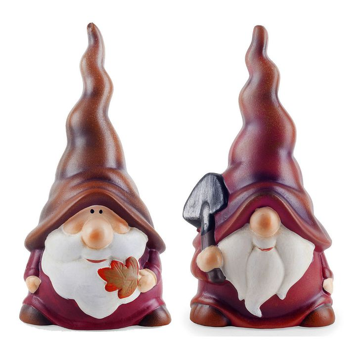 Garden Gnome Ornaments Set Austin & Basil the Happy Long Hat Red Terracotta 22cm #Gardens2you