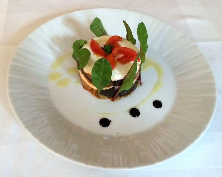 Food tasting at our office: Eggplant, tomato and 'Katiki Domokou' cheese Napoleon!