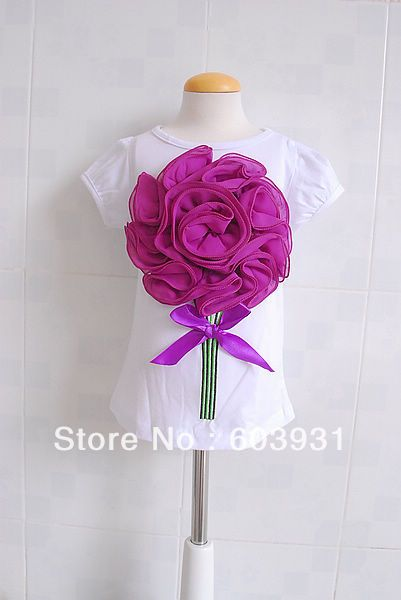 2013 new Reail Girl's T-shirt Children short sleeve T-shirt Three-dimensional flower T-shirt baby flower top