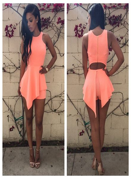 Seductive  O-Neck High Waist Skater Dress Orange