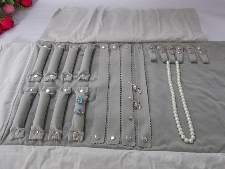 Portable Gray Velvet Jewelry Display Set Travel Roll Bag