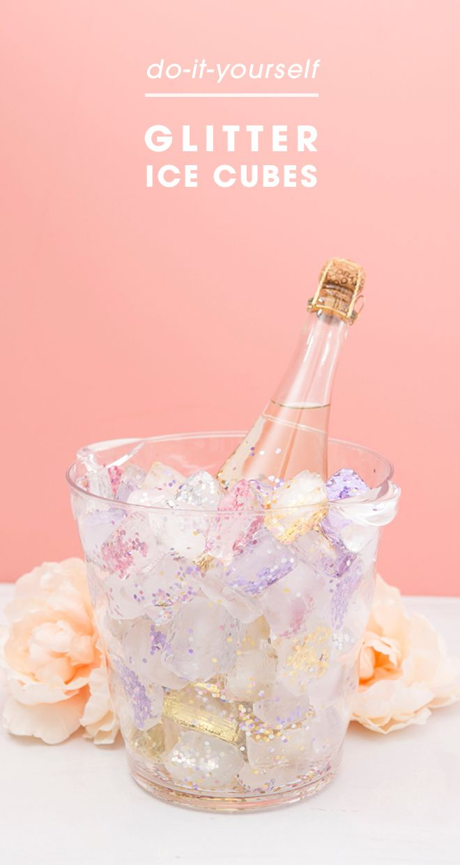 Make your own glitter ice cubes to chill your bachelortte party wine with!