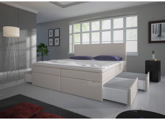 Boxspring Sona is zeer compleet, heeft een moderne uitstraling en staat garant voor een comfortabele nachtrust. Dit model beschikt over een hoofdbord, box met stevige poten, bonellveringmatras en topdekmatras. De gehele boxspring is bekleed met een sterke stof in een gebroken witte kleur. De Sona beschikt over vier opberglades welke in de zijkanten van de boxspring verdwijnen. Deze is verkrijgbaar in 140x200 / 160x200 / 180x200 cm.