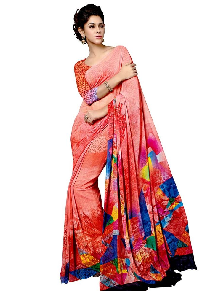 Ravishing coral color #Printed #Saree planed on georgette is pleasing appearance.  Item code: SUL14050 http://www.bharatplaza.com/new-arrivals/sarees.html