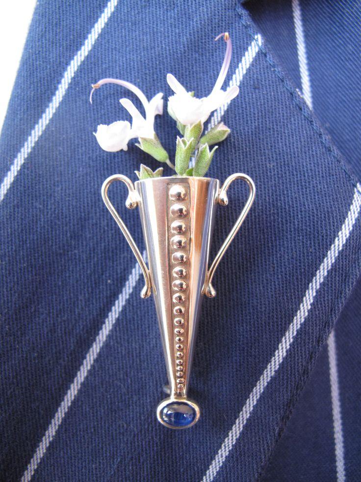 'Poirot' inspired lapel pin