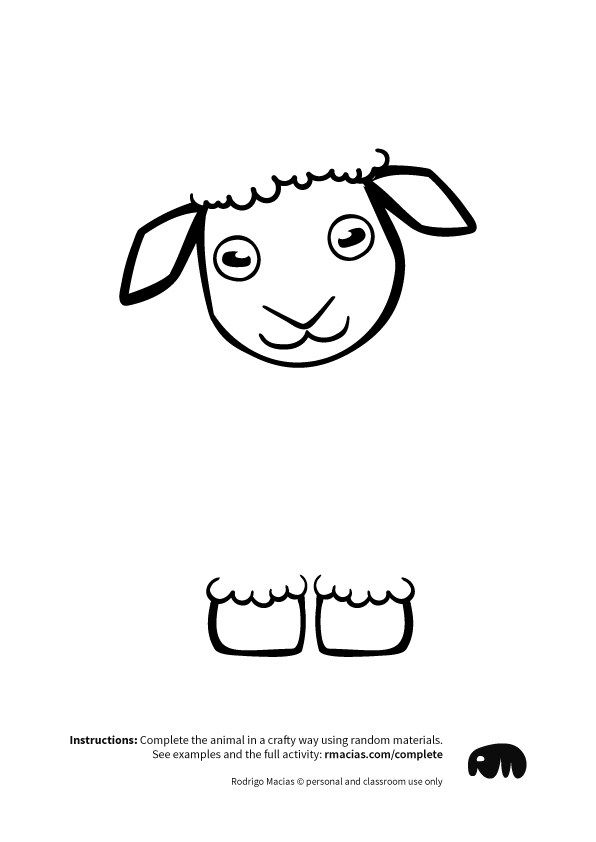 Sheep from Complete The Animals Game - Fun idea for an Arts and Crafts game where kids exercise their creativity and problem-solving skills by coming up with different ways to complete the bodies of different animals. Free PDF has the base drawings for printable for the following animals: Lion, Bird, Cat, Turtle, Snake, Fish, Butterfly and Sheep.