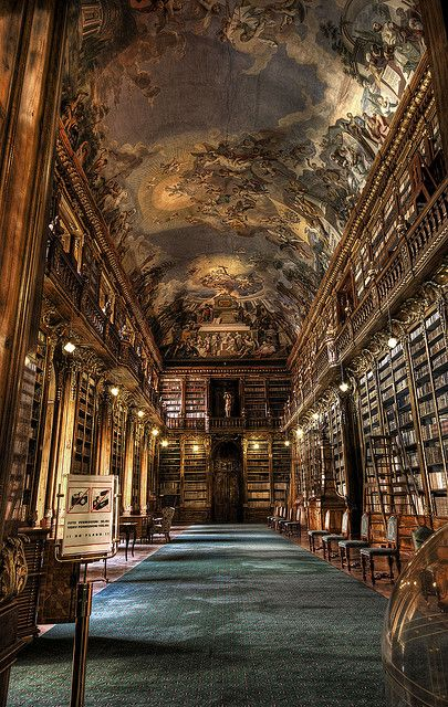 My idea of Heaven!  Books, books, and more books!    The Philosophical Hall at Strahov Monastery in Prague, Czech Republic (by Raf Ferreira).
