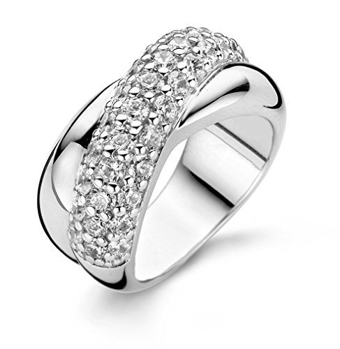 Ti Sento Milano Rhodium Plated Sterling Silver Ring with Cubic Zirconia Stones-1709ZI/54 - Size N