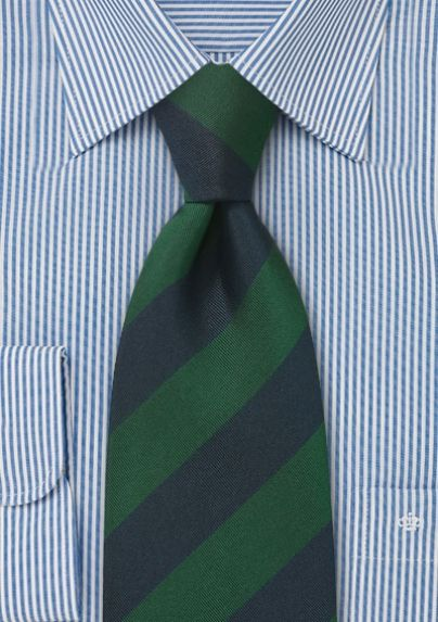 Classic hunter green and navy blue repp-striped tie. Perfect for your DB jackets, blazers, and sport coats.