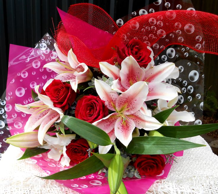 Strawberries and Cream bouquet with roses and oriental lilies. order online. Adelaide Delivery for all occasions