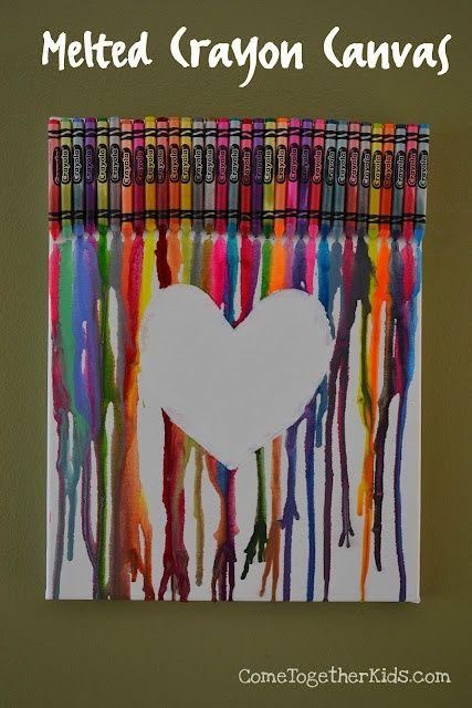 DIY  Melted Crayon Canvas. Cool Kids Craft.