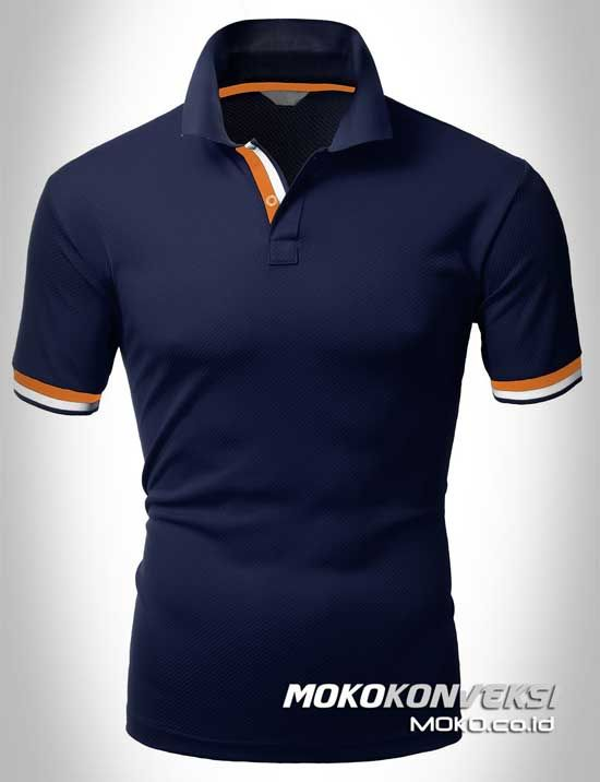Polo Shirt Dual Stripes Accent | MOKO.CO.ID Baju Kaos Berkerah Warna Biru Navy.