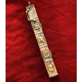 Astuccio portaincensi con gli otto simboli di buon auspicio del buddhismo tibetano.