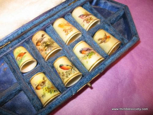 A collection of  Worcester Hand Painted Porcelain; Circa 1880    A selection of hand painted Worcester porcelain thimbles, made c.1880
