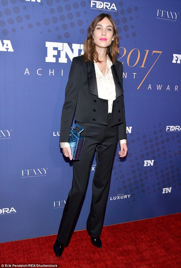 Model status: Alexa Chung, 34, flaunted her stylish fashion sense, putting on a chic display at the 31st Annual Footwear News Achievement Awards on Tuesday evening in New York