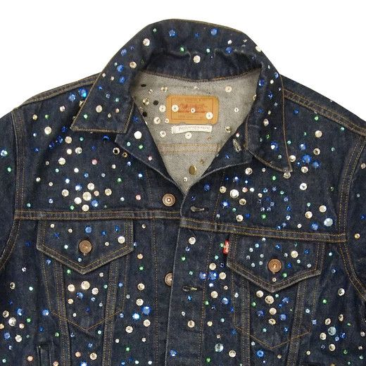 Trucker jacket decorated with Swarovski crystals by Yves Saint Laurent