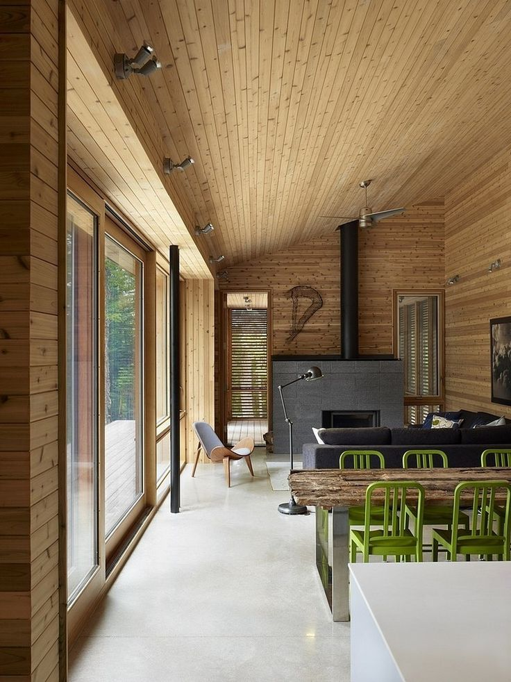 An Exciting Concrete Flooring Hallway With Cedar Trim Ceiling And Wall Design For Classy Dining Room Area Integration of the House in the Wood with Minimal Impact to the Environment Interior design