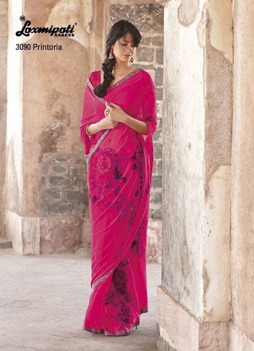 Beautiful Georgette raspberry color saree with fantastic diamond work on saree & on lace.