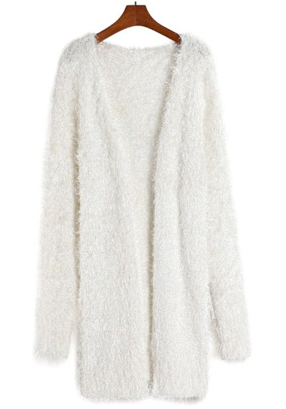 White Plain Mohair V-neck Cardigan
