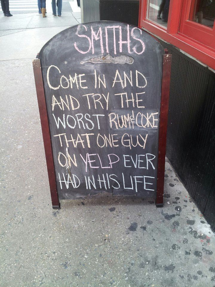 New york bar chalkboard sign for the win. | Imgur #yelp #beer #funny_signs