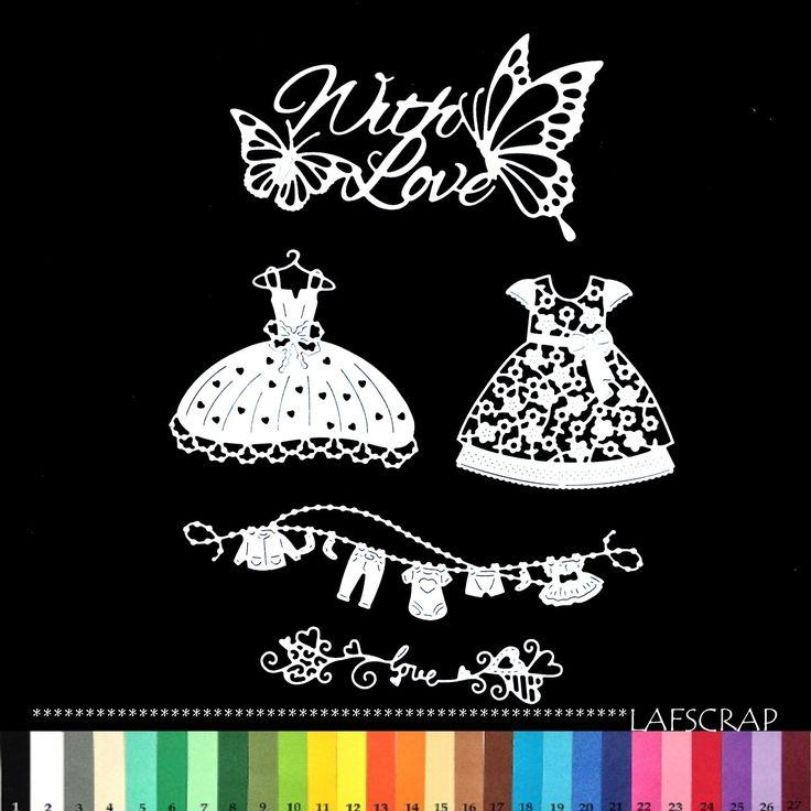 lot découpes bébé papillon with love amour robe vêtement naissance princesse scrapbooking embellissement album scrap : Embellissements par lafscrap