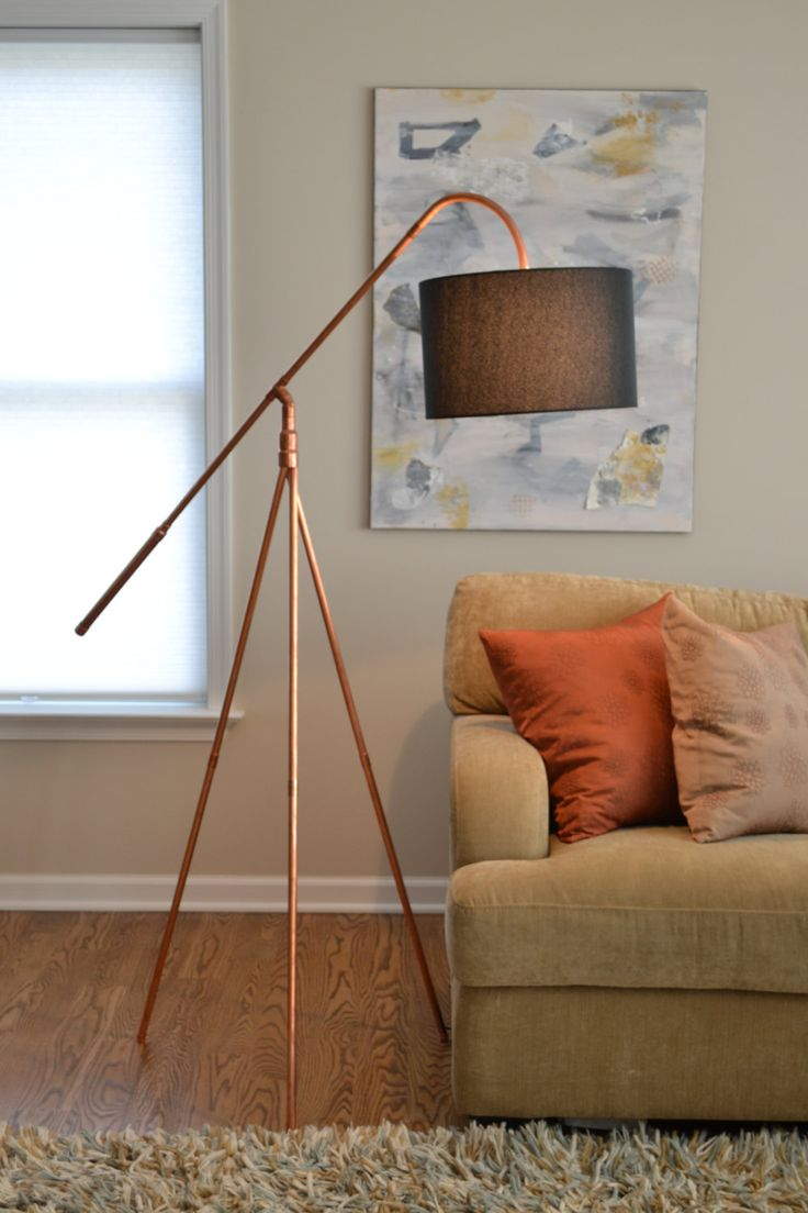 """Copper Tube """"Heron"""" Tripod Industrial Floor Lamp by AtDCopperCreations on Etsy"""