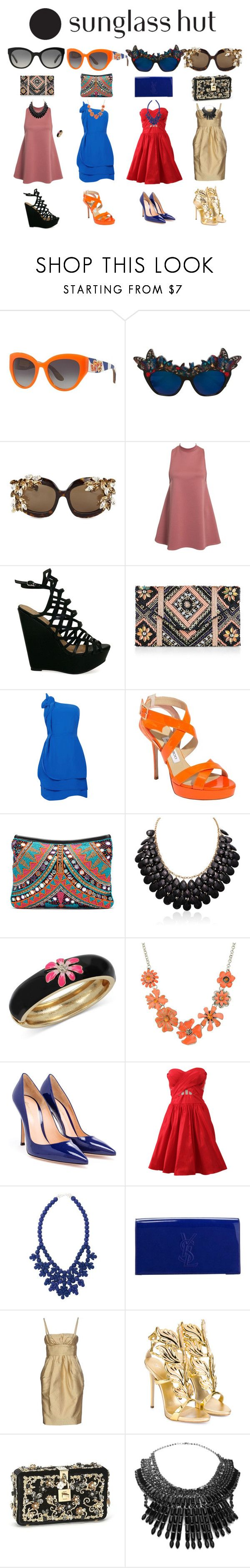 """""""Shades of You: Sunglass Hut Contest Entry"""" by susy-1697 ❤ liked on Polyvore featuring Dolce&Gabbana, Anna-Karin Karlsson, Dsquared2, New Look, Oasis, Jimmy Choo, Blue Pearl, Betsey Johnson, Shourouk and Gianvito Rossi"""