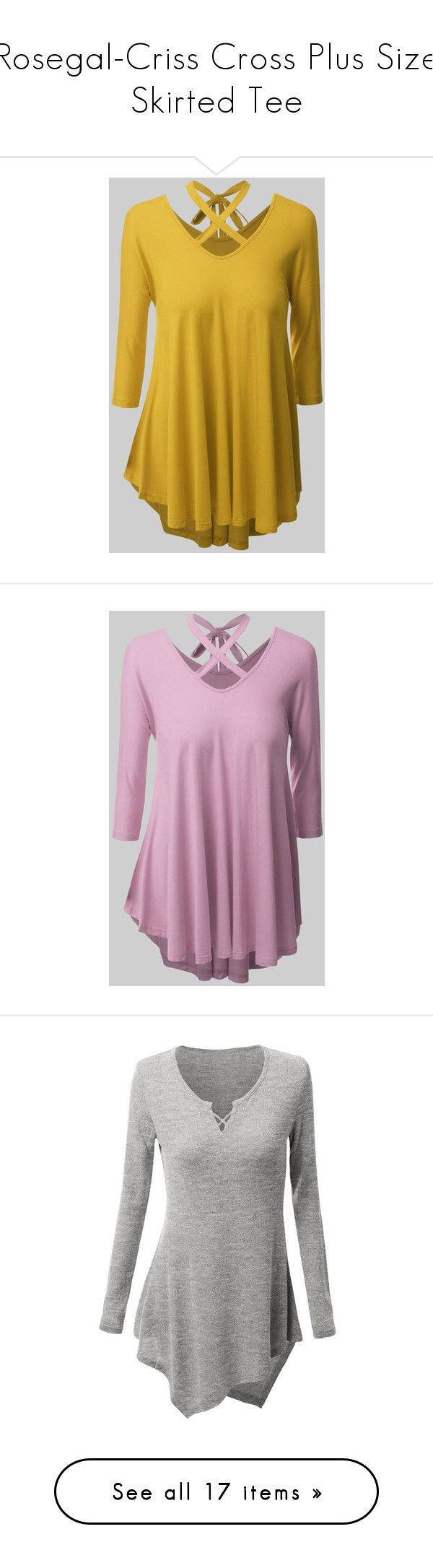 """""""Rosegal-Criss Cross Plus Size Skirted Tee"""" by fshionme ❤ liked on Polyvore featuring tops and t-shirts"""