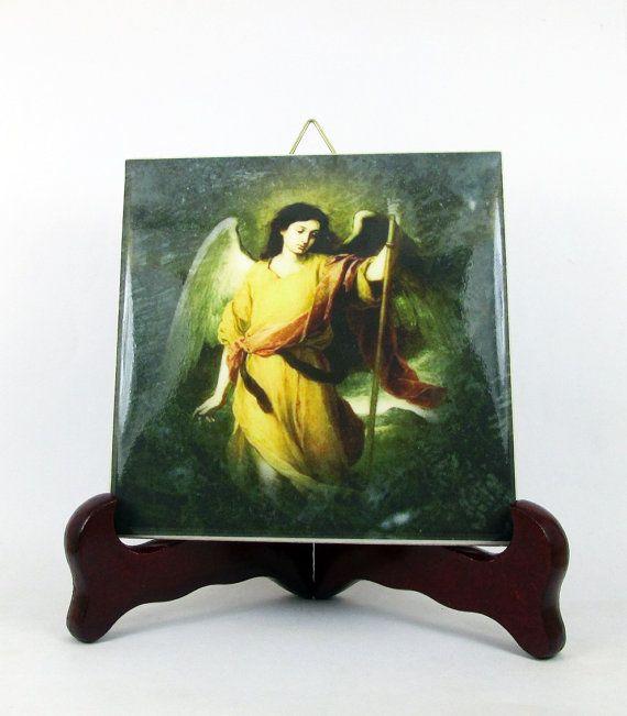 St Raphael the Archangel ceramic tile handmade by TerryTiles2014