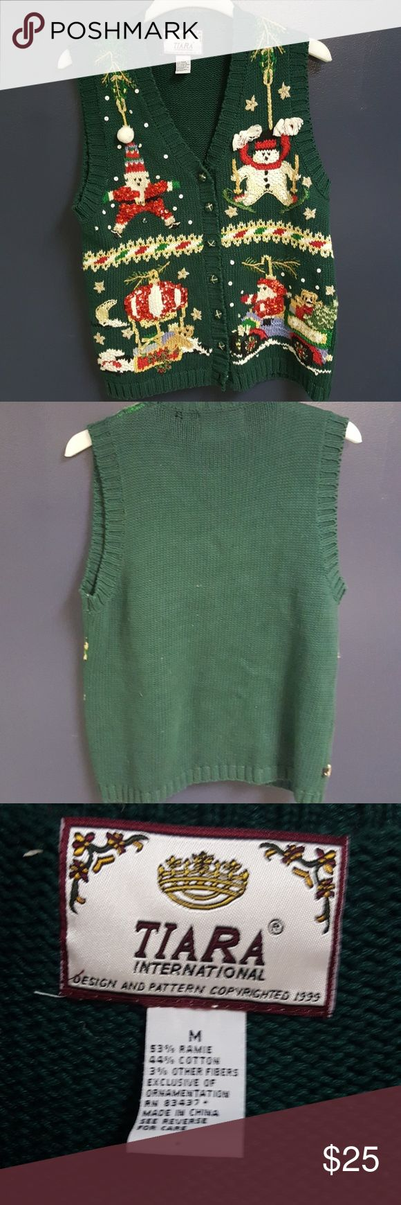 Ugly Christmas Sweater Vest Medium Vintage sweater best perfect for Tiara Sweaters