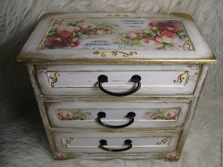 Купить Мини комод Музыка шебби - соловей, птичка, шебби шик, розы и ноты