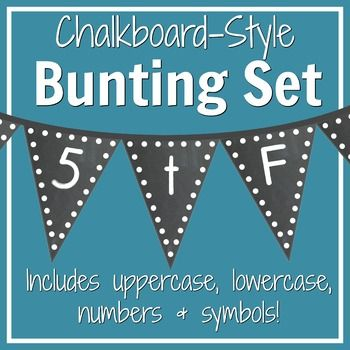 Polka dot and chalkboard alphabet bunting set: Includes uppercase letters, lowercase letters, numbers, & symbols!
