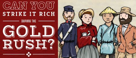 Gold Rush is an interactive game for 1-4 players. You select a player (as seen in picture) and lead them through their personal journey during the Gold Rush. The game challenges students to become wealthy at the end, but also questions the students moral judgements and values of being a good citizen. A very good resource to use while teaching about civics and citizenship, as it gives students a choice they must make; perhaps gaining wealth versus ignoring their responsibilities as a citizen.