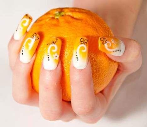 Orange Nail Art---I don't like how long they are, but I like the art (Jack & Jill Party Nails)