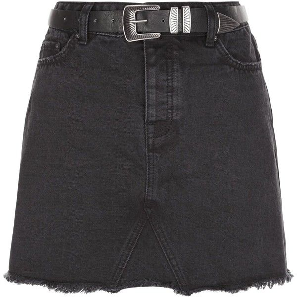 New Look Black Denim Fray Hem Belted Skirt ($13) ❤ liked on Polyvore featuring skirts, bottoms, faldas, black, denim skirt, button-front denim skirts, knee length denim skirt, button skirt and zipper skirt