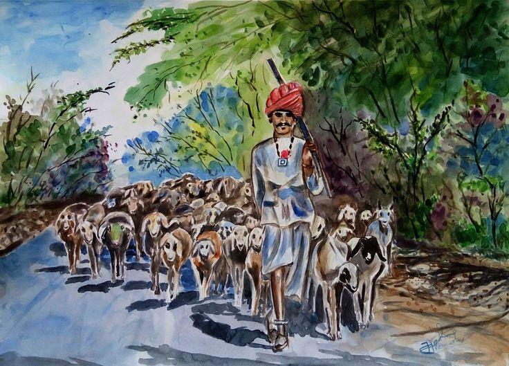 Rajasthani goat rearer wtr clr- jiji john by jijov7.deviantart.com on @DeviantArt