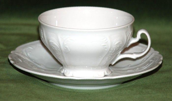 Šálek a podšálek čajový 205 ml / 15,5 cm, Thun 1794, karlovarský porcelán, BERNADOTTE bílá