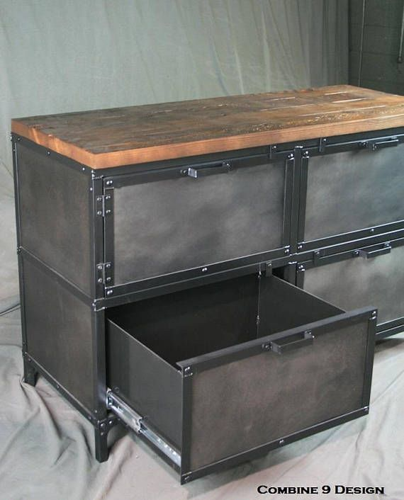 Industrial File Cabinet With Storage Vintage Industrial Style
