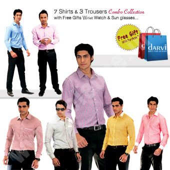 #fashion #Apparel #shopping #Darvi Buy Darvi Executive Combo Collection,Unstitched Poly Cotton Shirts & Trousers Combo Online From Teleone . Order Now @ 09212600900 , 09250018100