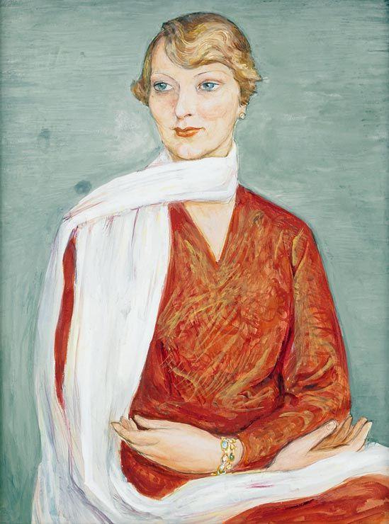 Lady with a white shawl, 1926 by Nils Dardel (Swedish 1888-1943)