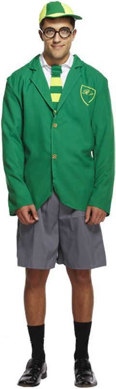 SCHOOL BOY Men's ADULT Stag COSTUME JACKET, SHORTS,TIE AND HAT - The Dragons Den Fancy Dress