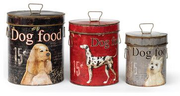 Bark for Food Treat Tins (Set of 3) - Corral the kibble and the cookies in this three-size set of retro paper covered tins with snug, Fido-proof lids. Iron accents must love dogs (and cats)  I think i have to have these