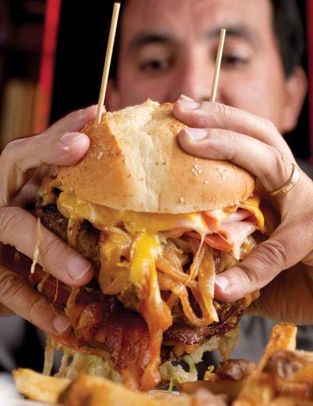"""The Thurmanator — has received national acclaim from numerous food critics and was featured on the premiere season of the Travel Channel's """"Man v. Food."""""""