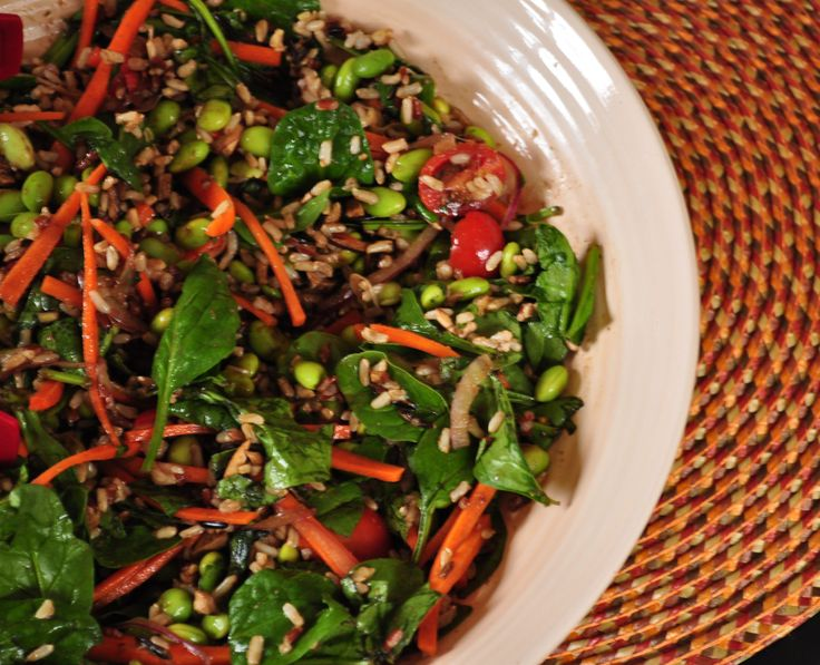 Healthy and Colorful Spinach and Wild Rice Salad.  Always a hit at parties! Vegan.