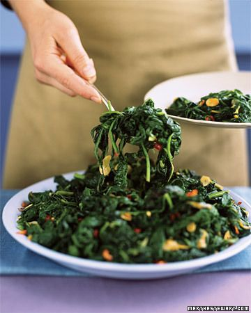 // Hearty Garlic Greens // blanched autumn greens (swiss chard, kale, mustard greens, spinach) + evoo + garlic + red pepper flakes